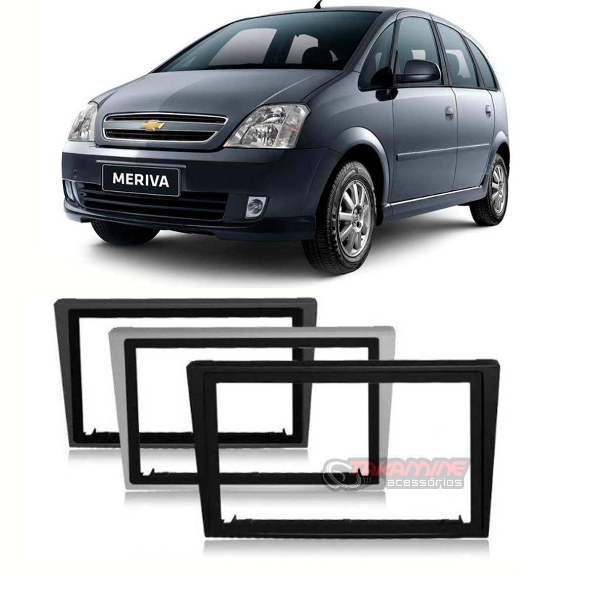 Moldura 2 Din Meriva 2003 até 2012 prata, preta ou cinza c/suporte padrão chinês / japonês