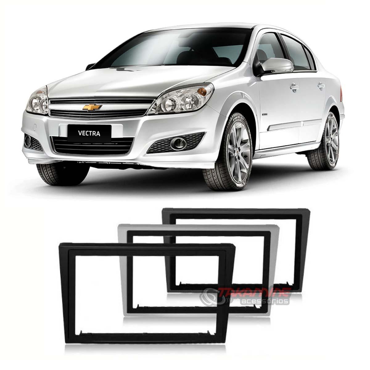 Moldura 2 Din Vectra 2005 até 2011 prata, preta ou cinza c/suporte padrão chinês / japonês