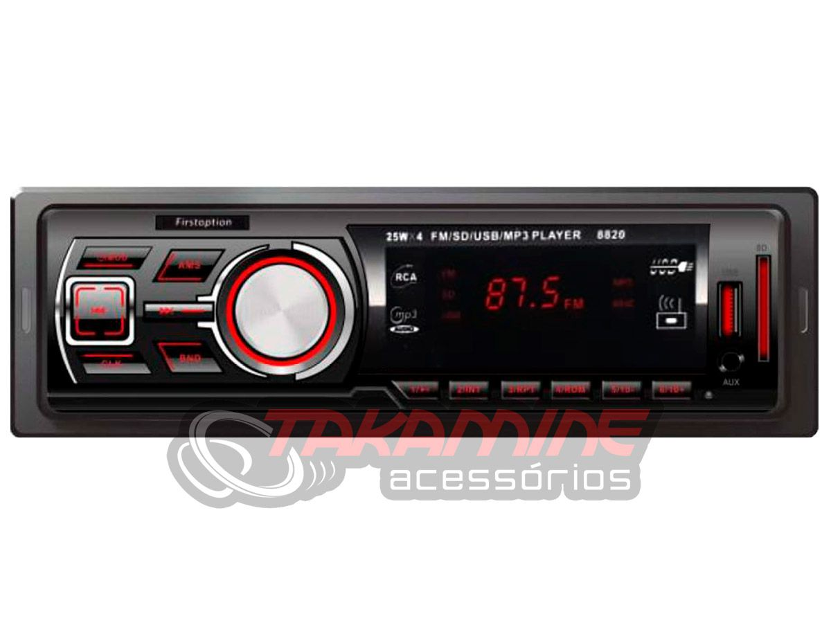 MP3 Player Automotivo First Option 8820 1 Din USB SD AUX AM FM Display LED