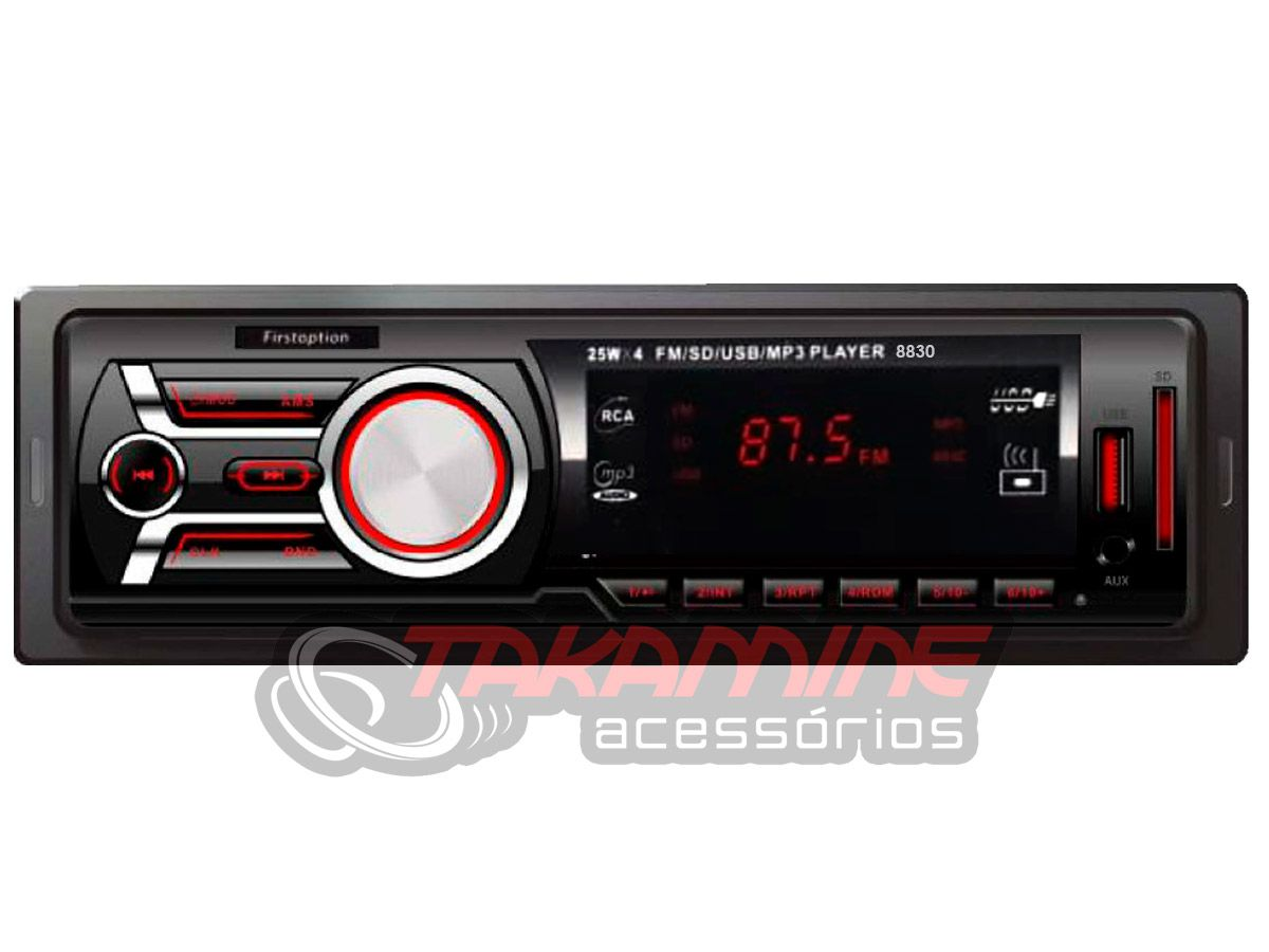 MP3 Player Automotivo First Option 8830 1 Din USB SD AUX AM FM Display LED