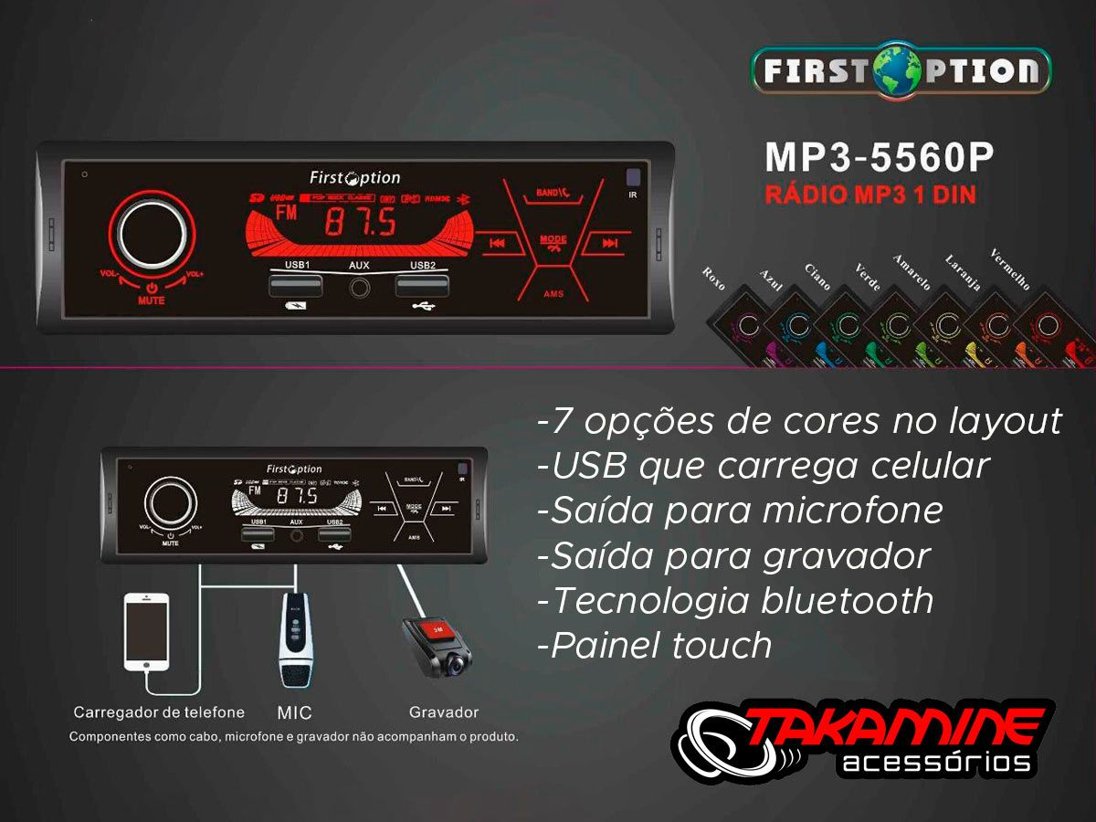 MP3 automotivo First Option TOUCH com Bluetooth, USB carregador de celular, Display 7 cores Controle remoto
