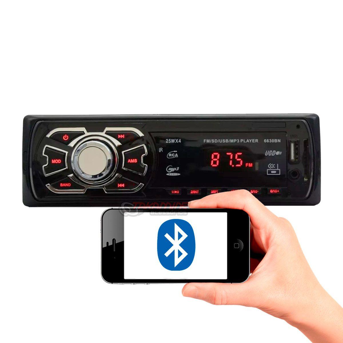 MP3 automotivo Ruchi com bluetooth entrada USB SD AUX AM FM Display LED
