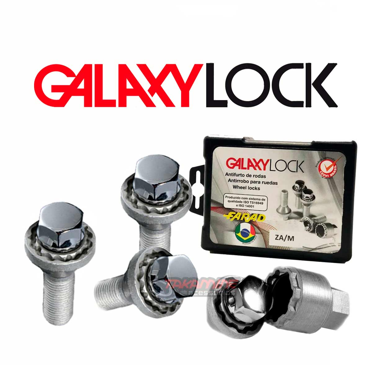 Parafuso antifurto para rodas Galaxy Lock C4 2004 até 2018 BE8/M