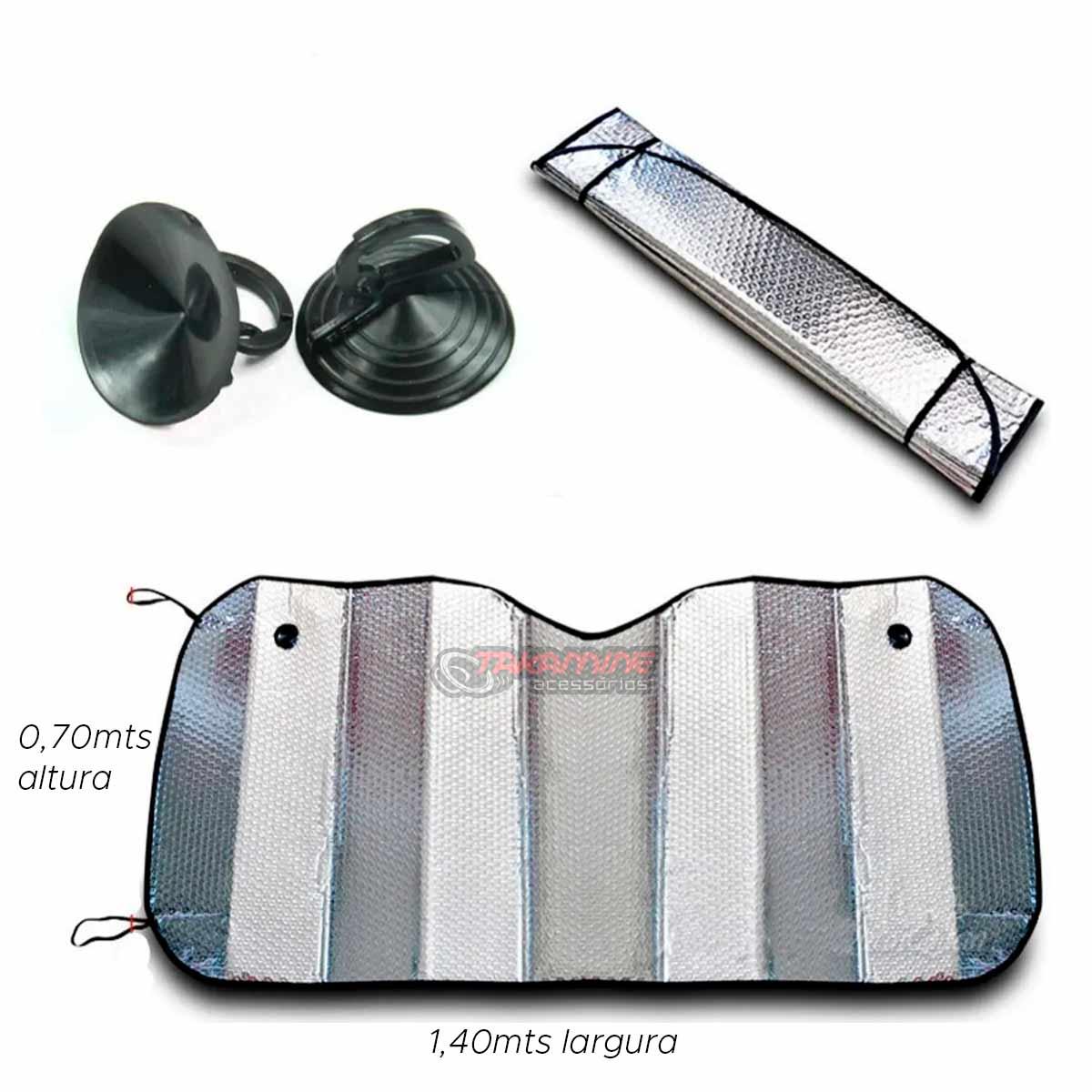 Protetor solar parabrisa metalizado prata universal tamanho grande