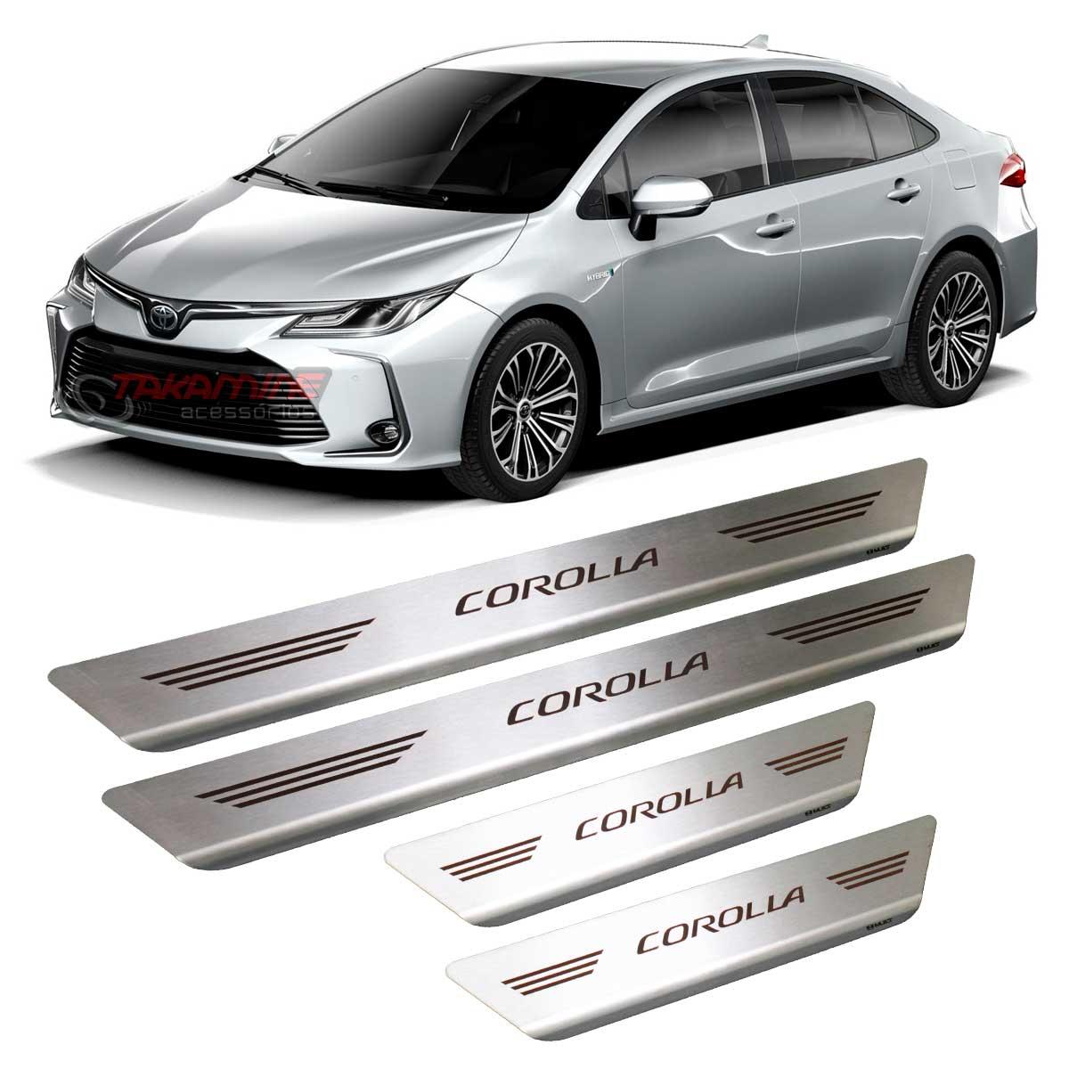 Soleira Corolla 2020 4 portas em aço inox escovada e com gravação a laser