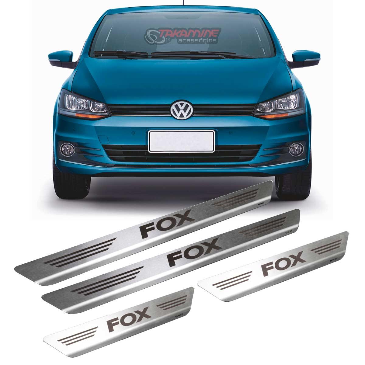 Soleira Fox 2006 até 2018 4 portas em aço inox escovada e com gravação a laser
