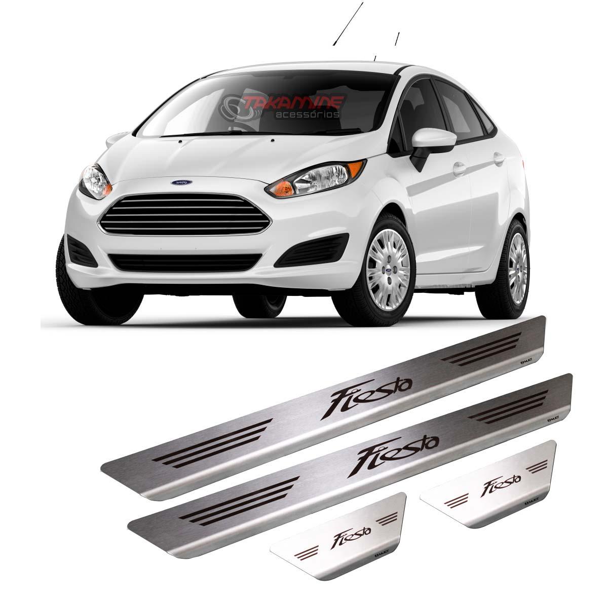 Soleira New Fiesta Hatch  2014 2015 2016 2017 2018 4 portas em aço inox escovada e com gravação a laser