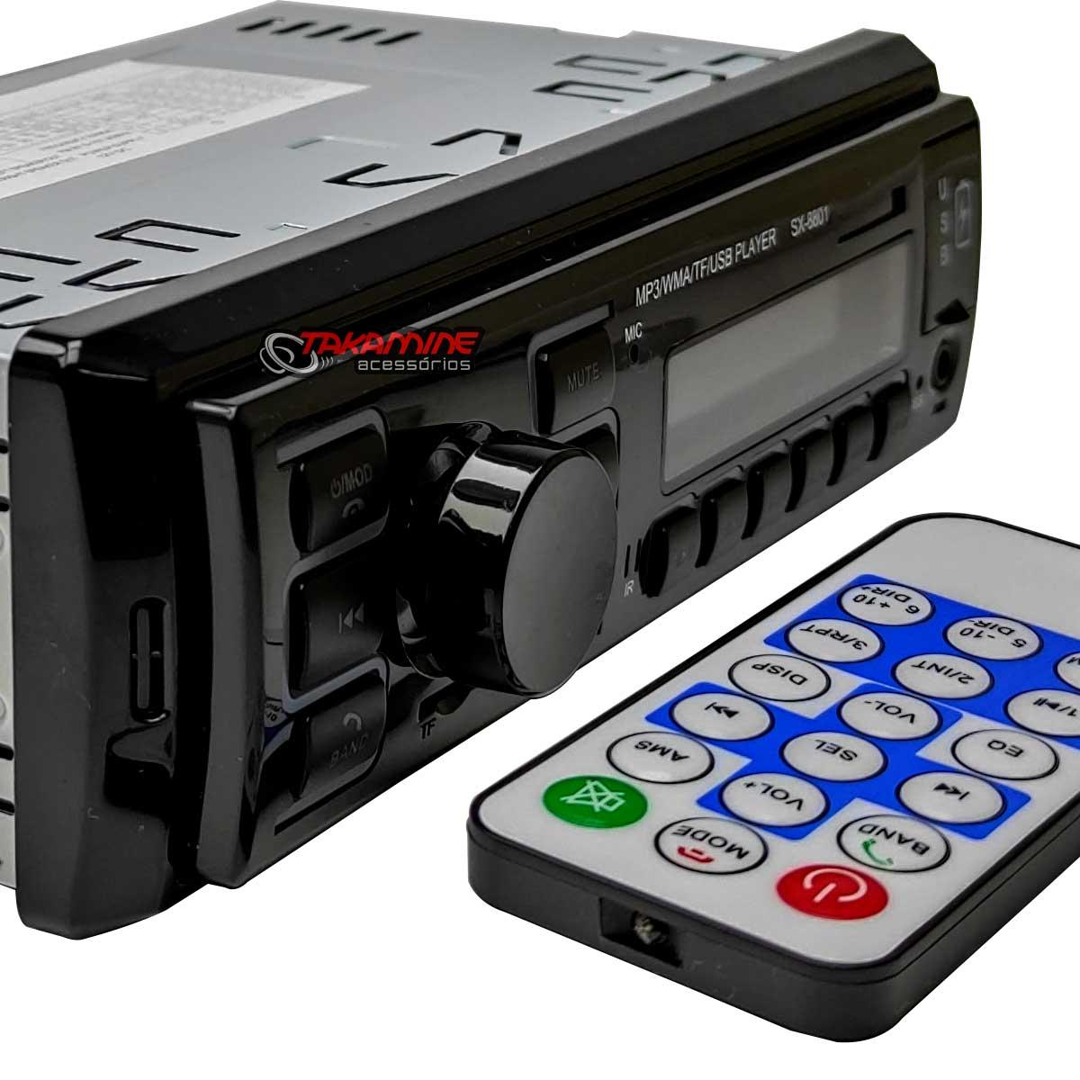 Som automotivo MP3 Taytech com Bluetooth e 2 entradas USB