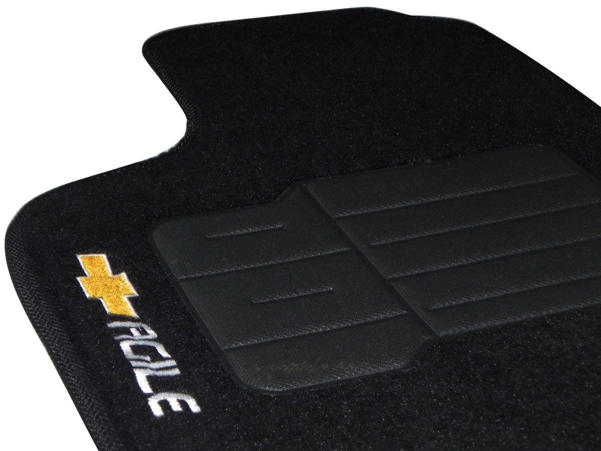 Jogo tapete carpete Agile 2009 2010 2011 2012 2013 2014 2015 com bordado (5 peças) e base pinada