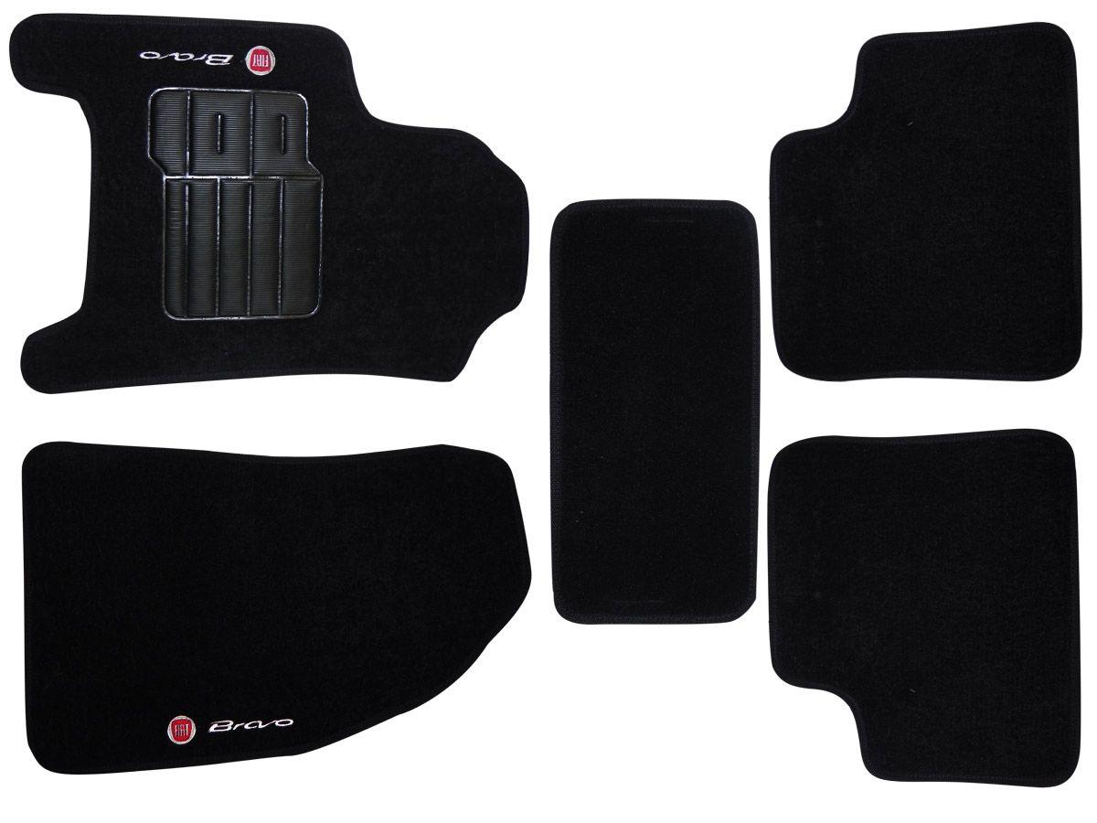 Tapete Carpete Fiat Bravo 2011 2012 2013 2014 2015 Personalizado com bordado nos dois tapetes dianteiros (5 peças)