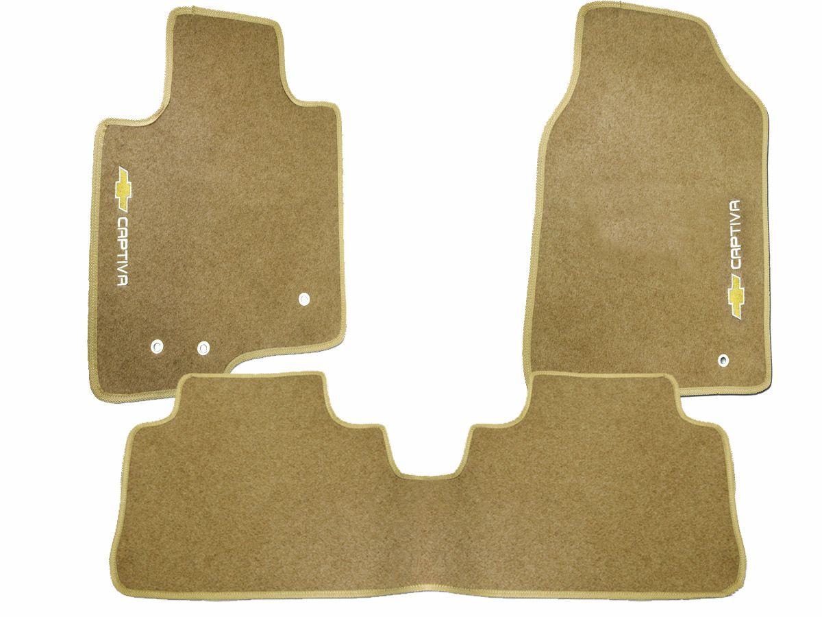 Tapete Carpete GM Captiva 2008 2009 2010 2011 2012 2013 2014 2015 Personalizado com bordado nos dois tapetes dianteiros (3 peças)