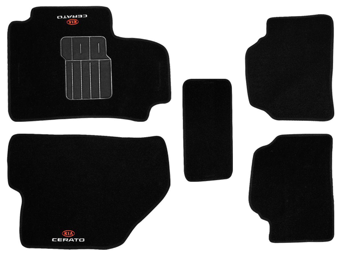 Tapete Carpete Kia Cerato até 2006 2007 2008 2009 2010 2011 2012 2013 Personalizado com bordado nos dois tapetes dianteiros (5 peças)