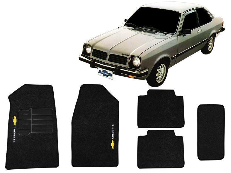 Tapete Carpete GM Chevette 1974 até 1995 Personalizado com bordado nos dois tapetes dianteiros (5 peças)