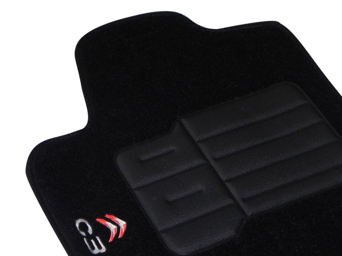 Jogo tapete carpete C3 2004 2005 2006 2007 2008 2009 2010 2011 2012 com bordado (5 peças) e base pinada