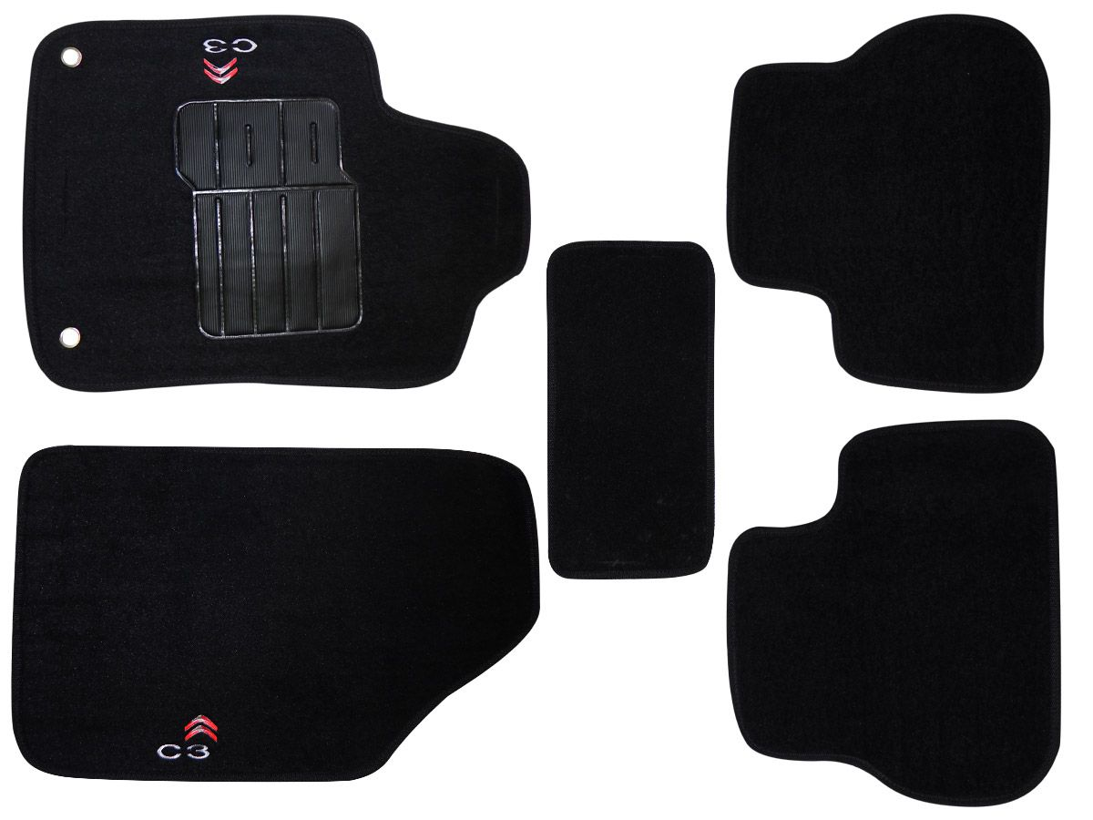 Jogo tapete carpete Citroen C3 2013 2014 com bordado (5 peças) e base pinada