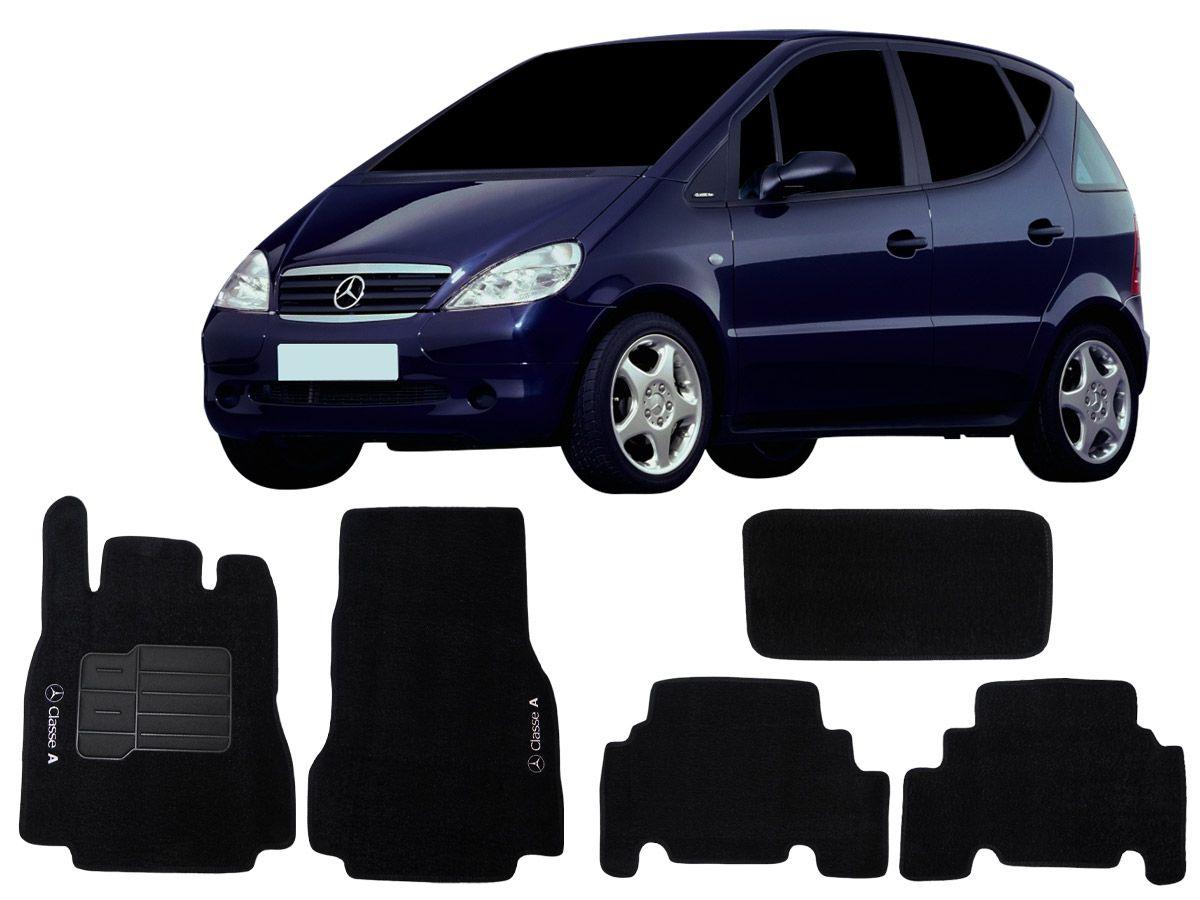 Tapete Carpete Mercedes Classe A 1999 2000 2001 2002 2003 2004 2005 Personalizado bordado nos dois tapetes dianteiros (5 peças)