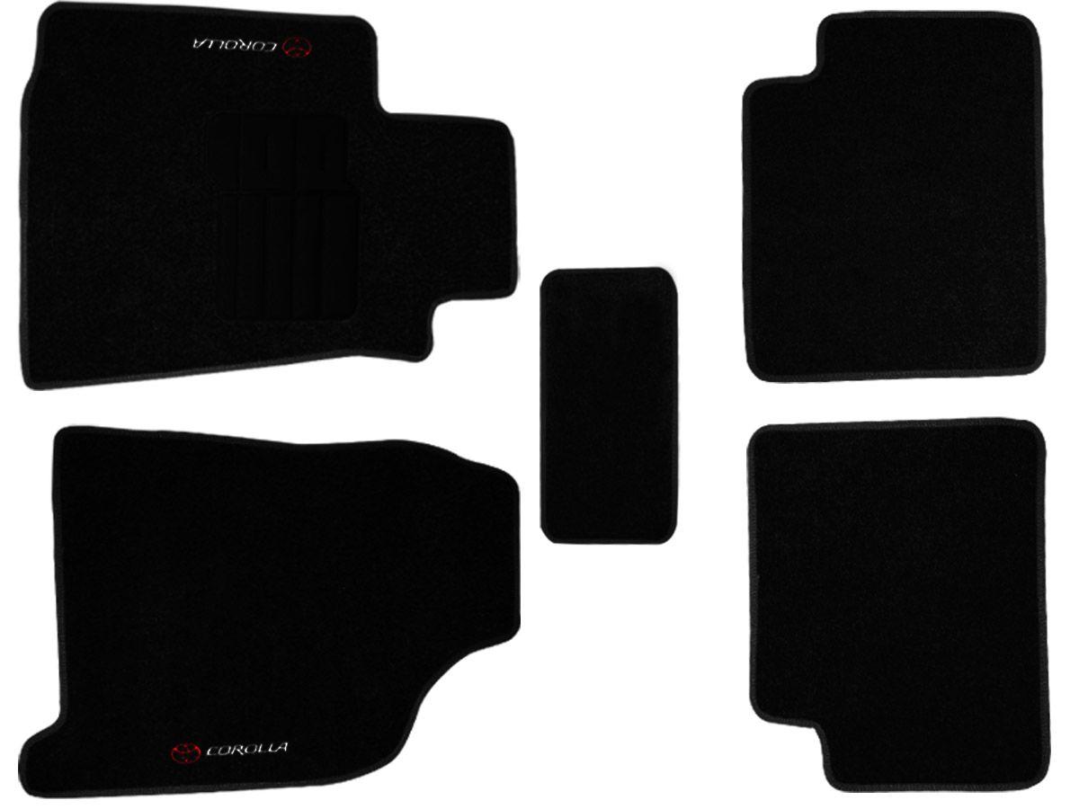 Jogo tapete carpete Corolla  2003 2004 2005 2006 2007 2008 com bordado (5 peças) com base pinada