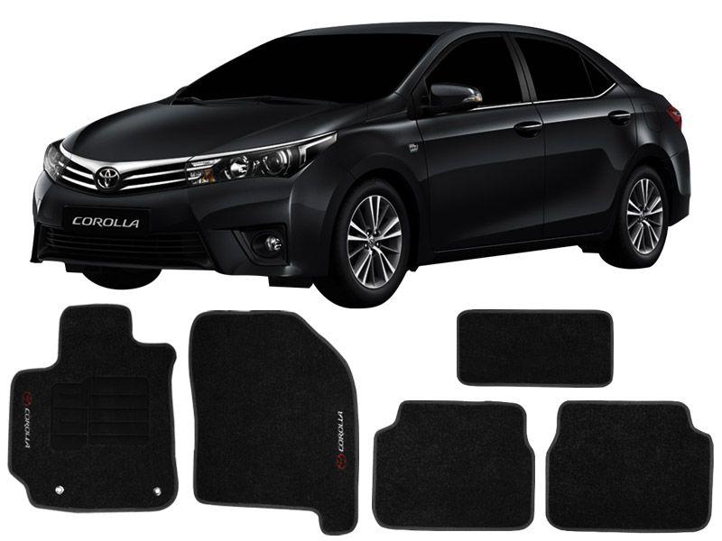 Tapete Carpete Toyota Corolla 2015 em diante Personalizado com bordado nos dois tapetes dianteiros (5 peças)