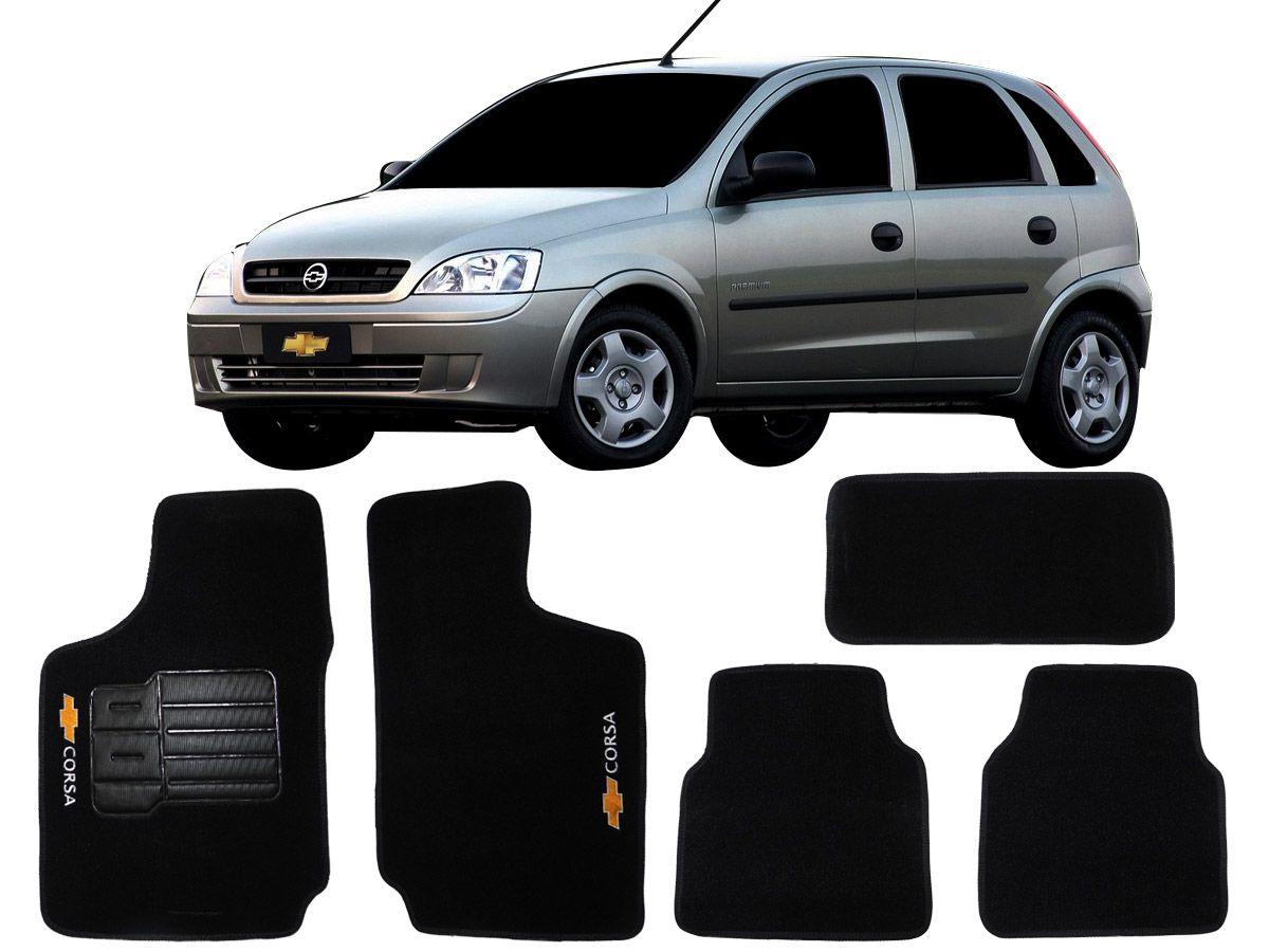 Tapete Carpete Corsa 2002 até 2012 Personalizado com bordado nos dois tapetes dianteiros (5 peças)