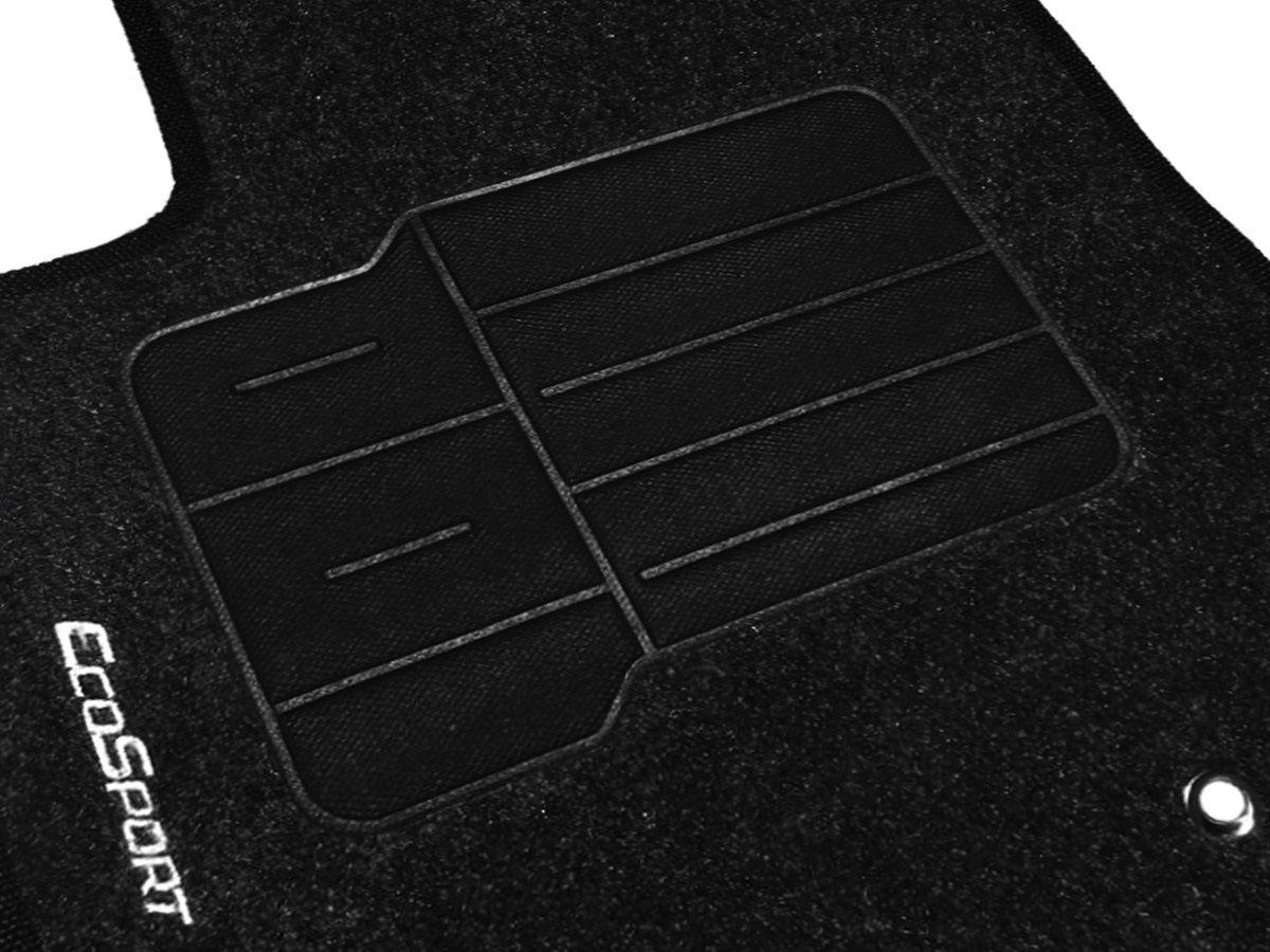 Jogo tapete carpete Ecosport 2013 2014 2015 2016 2017 2018 com bordado (5 peças) e base pinada