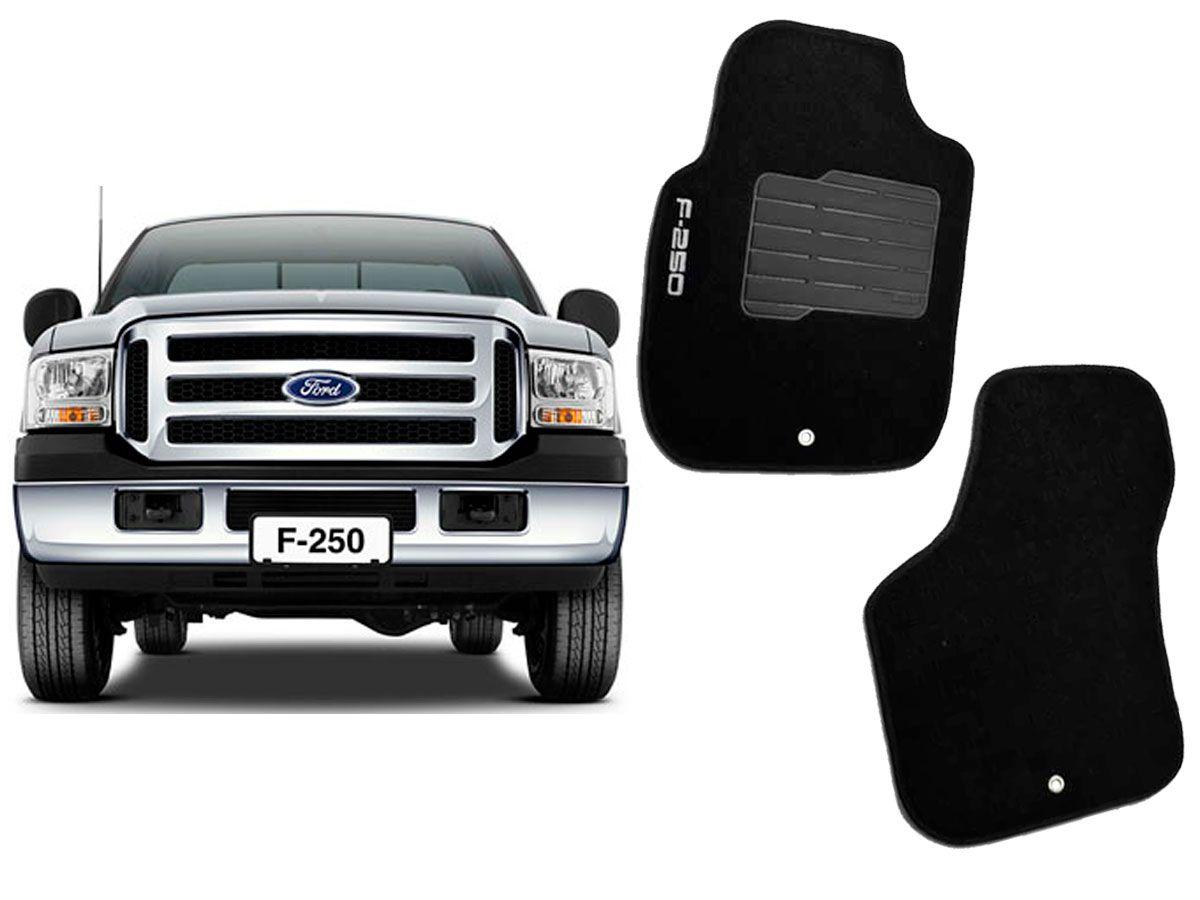 Tapete Carpete Ford F-250 Cabine Simples Personalizado com bordado (2 peças)
