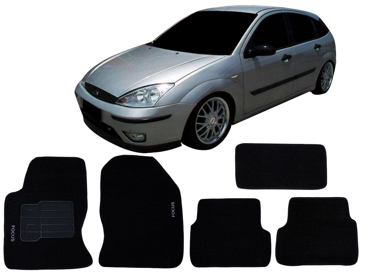 Tapete Carpete Focus 2001 2002 2003 2004 2005 2006 2007 2008 Personalizado com bordado nos dois tapetes dianteiros (5 peças)