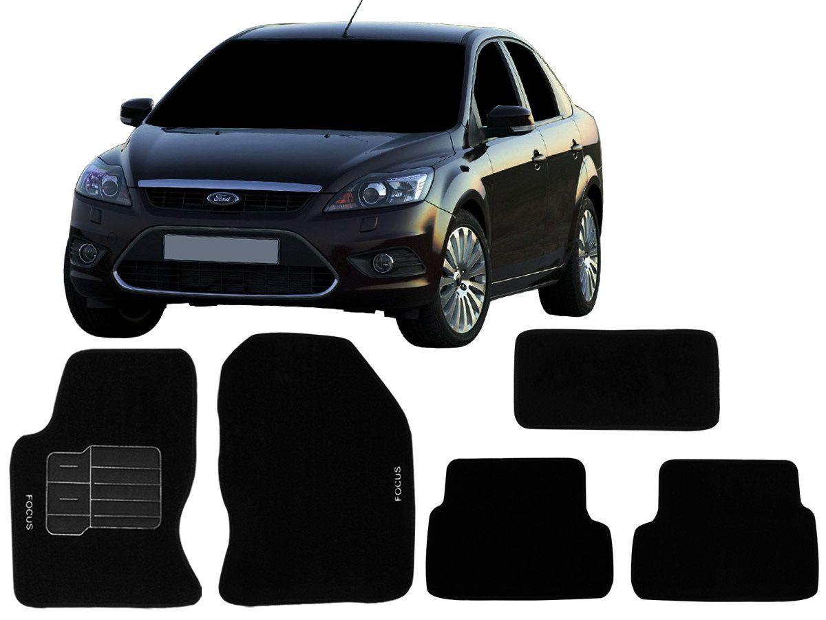 Tapete Carpete Ford Focus 2009 2010 2011 2012 Personalizado com bordado nos dois tapetes dianteiros (5 peças)