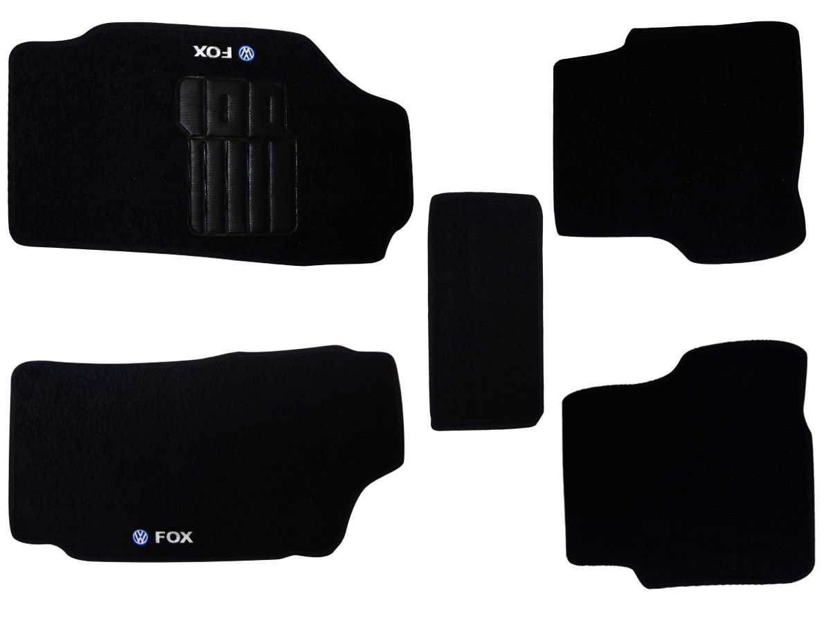 Tapete Carpete VW Fox 2004 2005 2006 2007 2008 2009 Personalizado com bordado nos dois tapetes dianteiros  (5 peças)