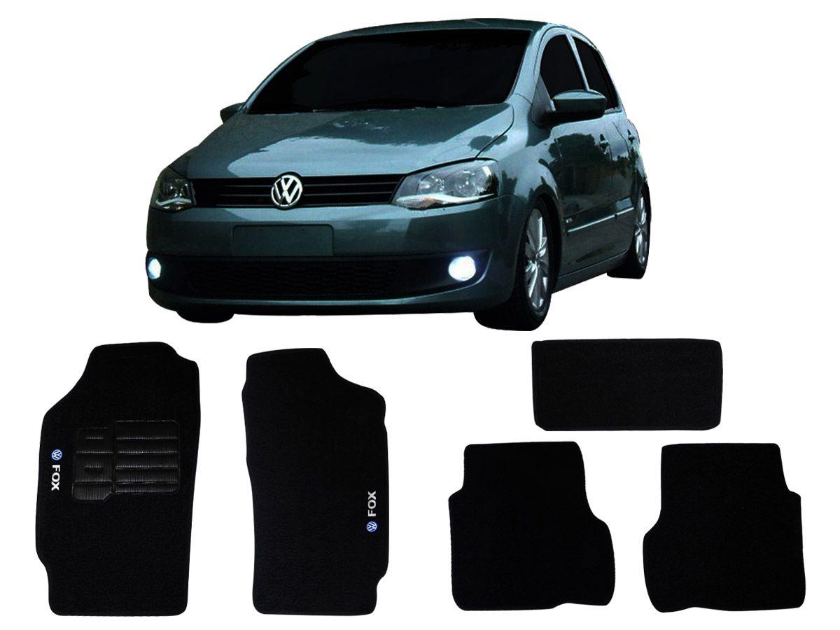 Tapete Carpete VW Fox 2010 em diante Personalizado com bordado nos dois tapetes dianteiros (5 peças)