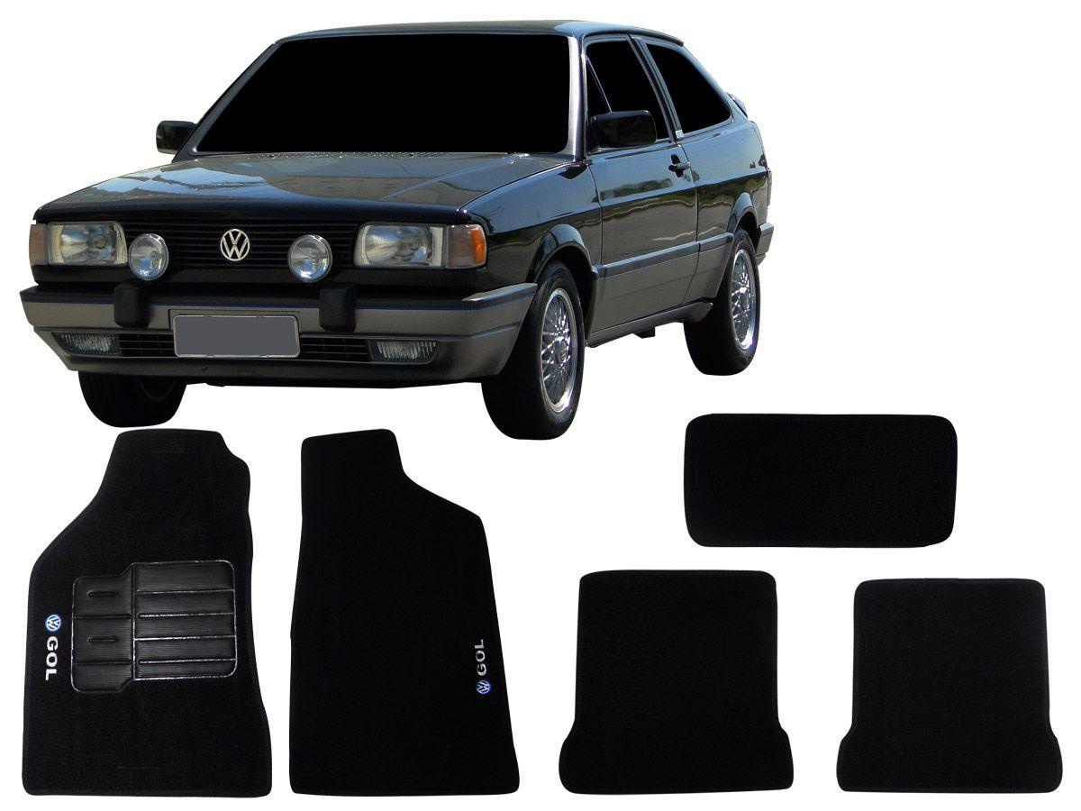 Tapete Carpete VW Gol Quadrado de 1982 1983 1984 1985 1986 1987 1988 1989 1990 1991 1992 1993 1997 Personalizado com bordado nos dois tapetes dianteiros (5 peças)