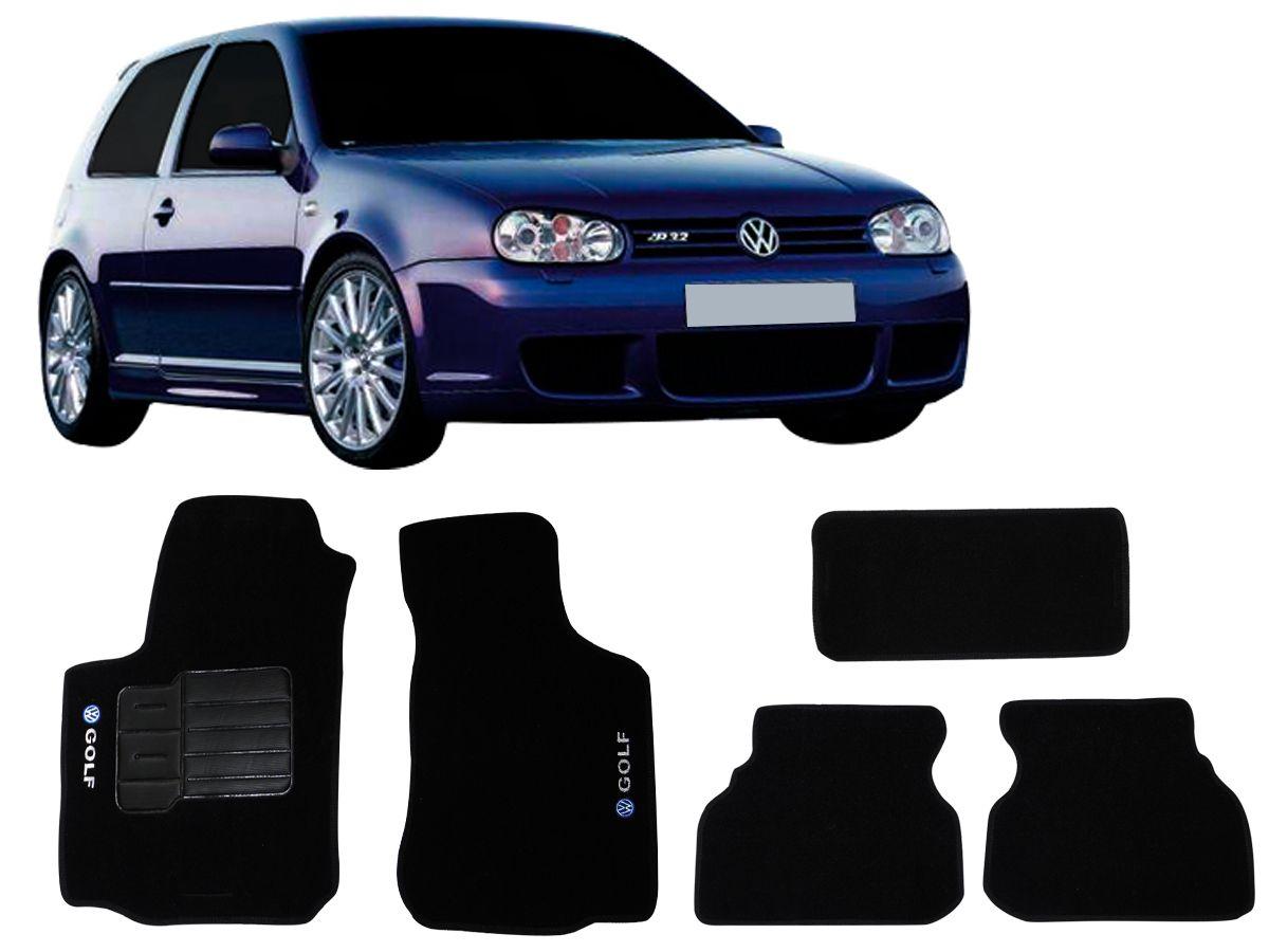 Tapete Carpete VW Golf 2000 2001 2002 2003 2004 2005 2006 2007 Personalizado com bordados nos dois tapetes dianteiros (5 peças)