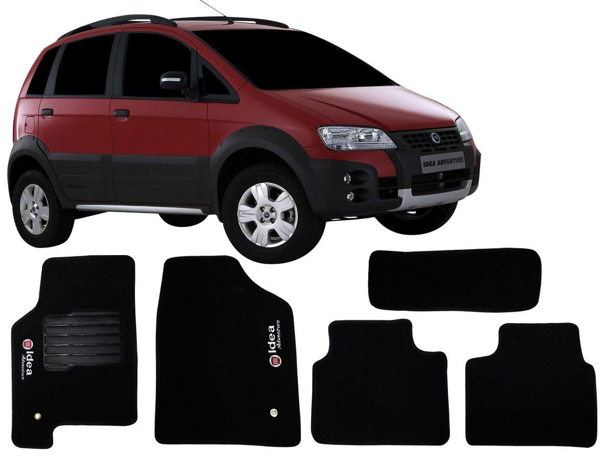 Tapete Carpete Fiat Idea Adventure 2007 2008 2009 2010 2011 2012 Personalizado com bordado nos dois tapetes dianteiros (5 peças)