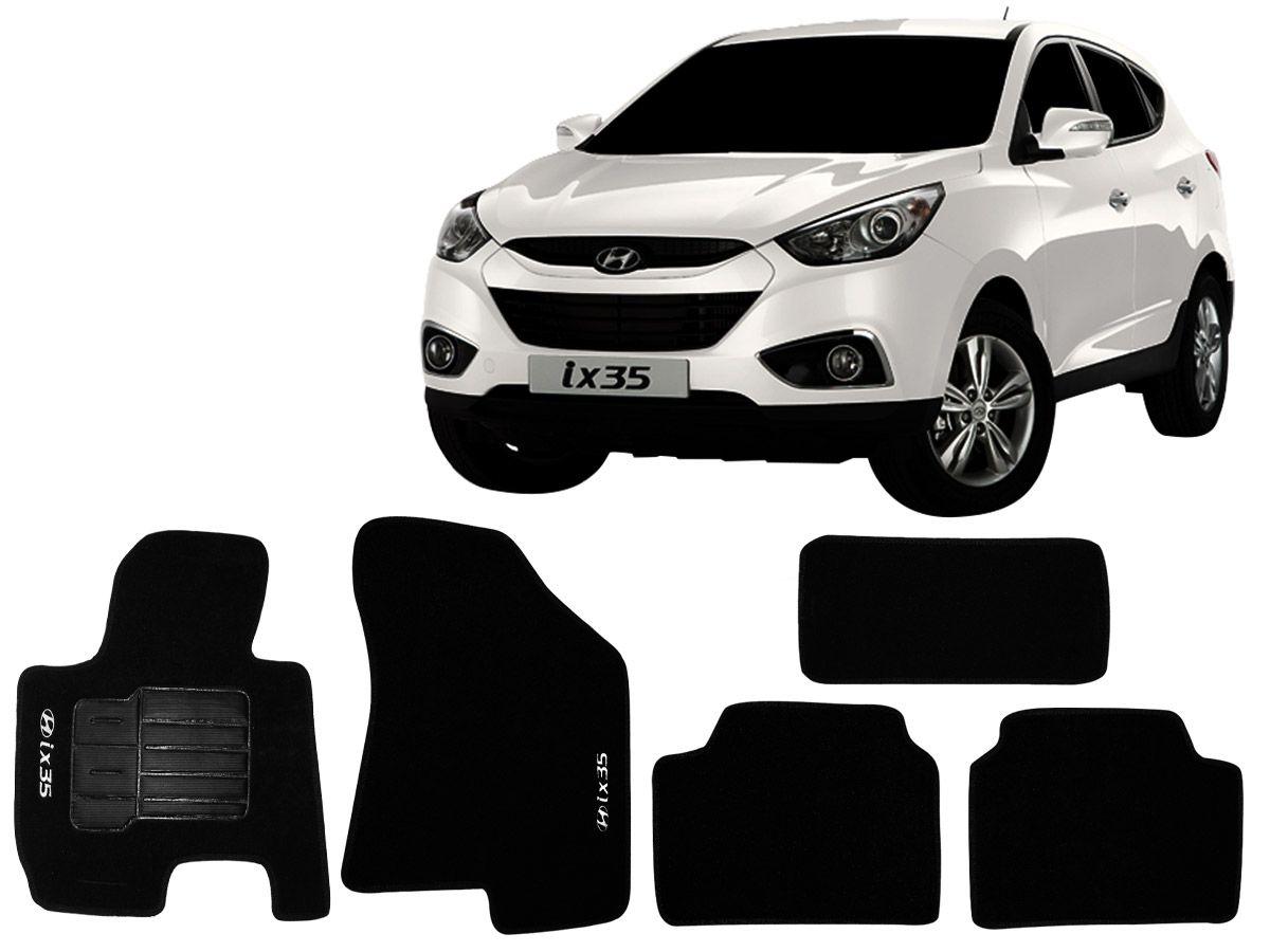 Tapete Carpete Hyundai IX35 2011 2012 2013 2014 2015 Personalizado com bordado nos dois tapetes dianteiros (5 peças)