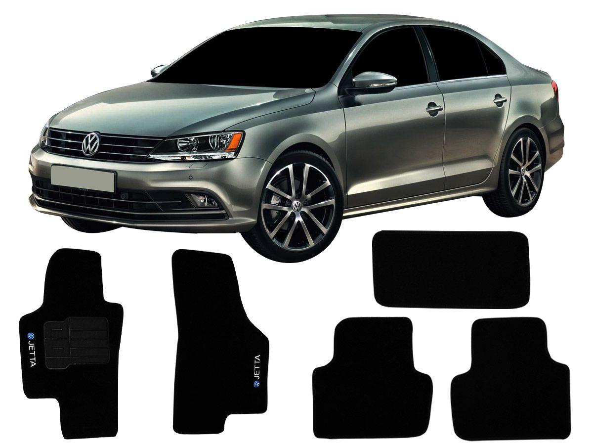 Tapete Carpete VW Jetta 2011 em diante Personalizado com bordado nos dois tapetes dianteiros (5 peças)