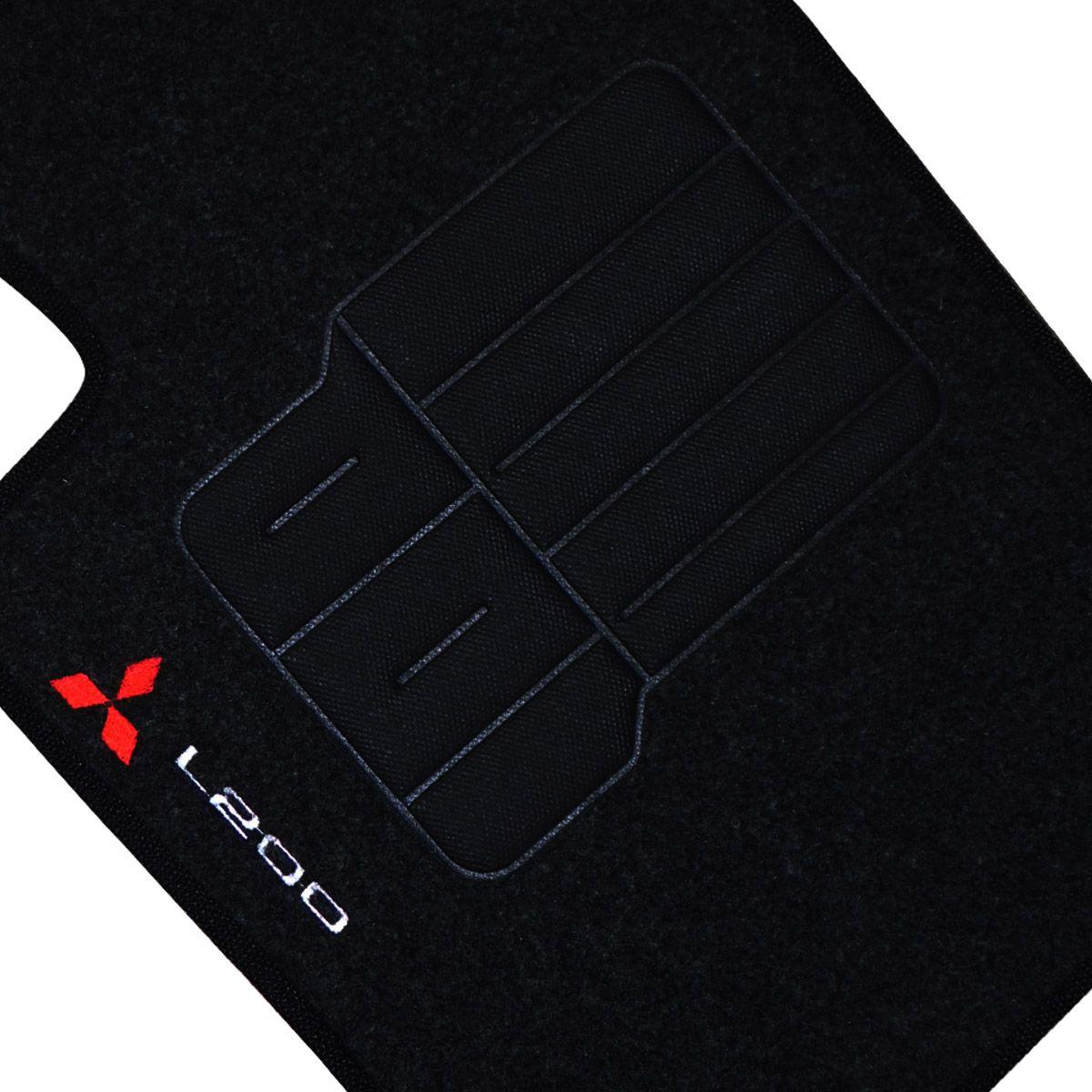 Jogo tapete carpete L200 Triton 2007 2008 2009 2010 2011 2012 2013 2014 com bordado (5 peças) e base pinada