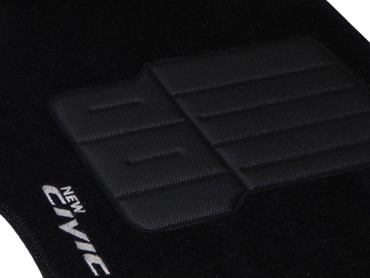 Tapete Carpete Honda New Civic 2007 2008 2009 2010 2011 Personalizado com bordado nos dois tapetes dianteiros (3 peças)
