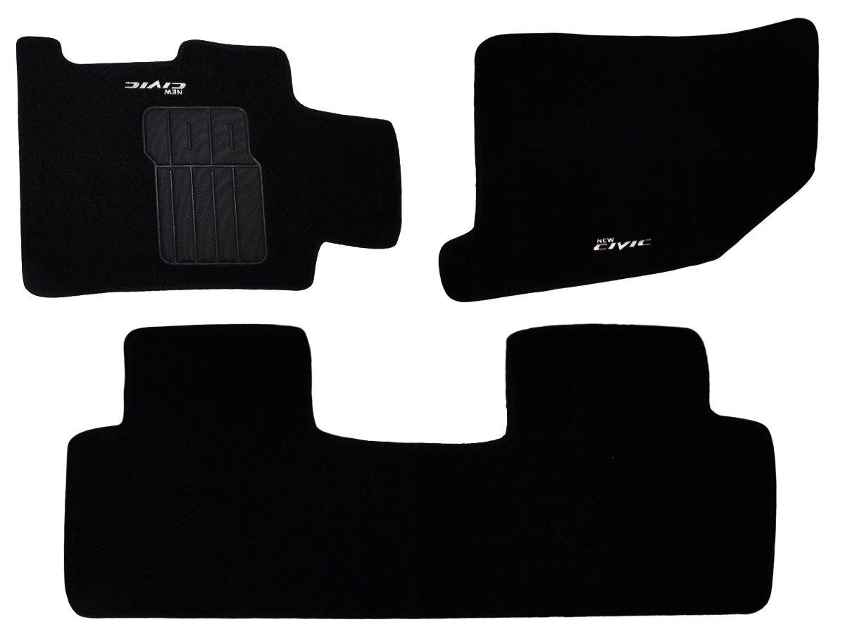 Tapete Carpete New Civic 2007 2008 2009 2010 2011 com bordado (3 peças) e base pinada