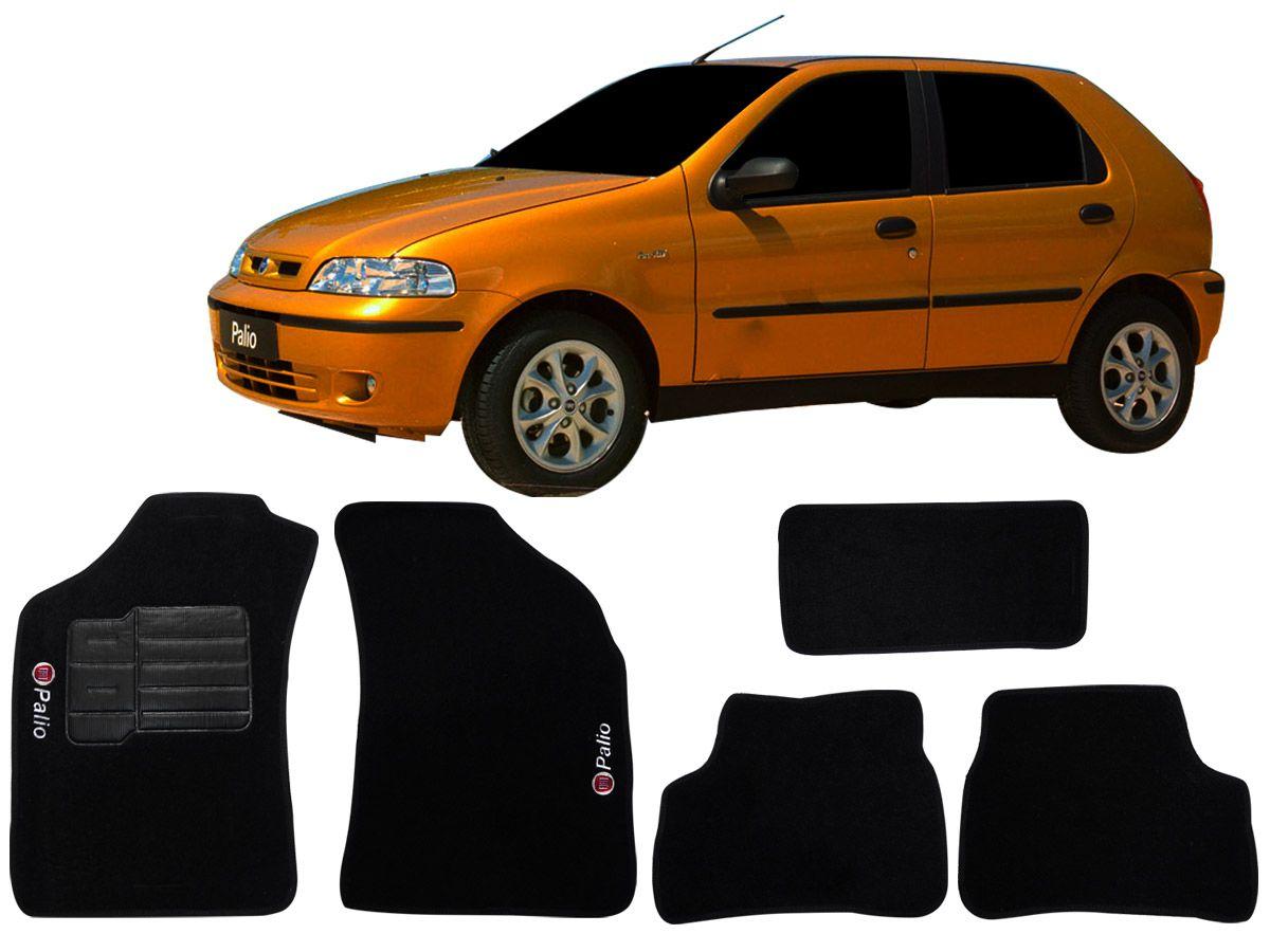 Jogo tapete carpete Fiat Palio 1996 até 2007 com bordado (5 peças) e base pinada