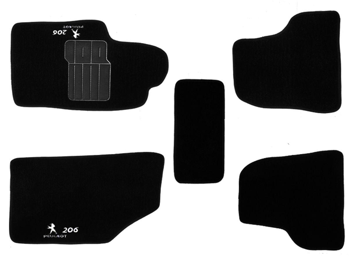 Tapete Carpete Peugeot 206 1998 até 2010 Personalizado com bordado nos dois tapetes dianteiros (5 peças)