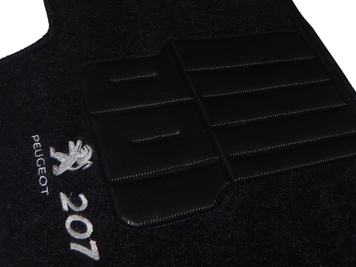 Tapete Carpete Peugeot 207 2007 2008 2009 2010 2011 2012 2013 Personalizado com bordado nos dois tapetes dianteiros (5 peças)