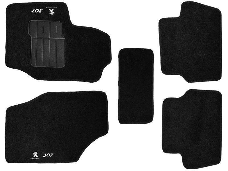 Jogo tapete carpete Peugeot 307 2001 até 2012 com bordado (5 peças)