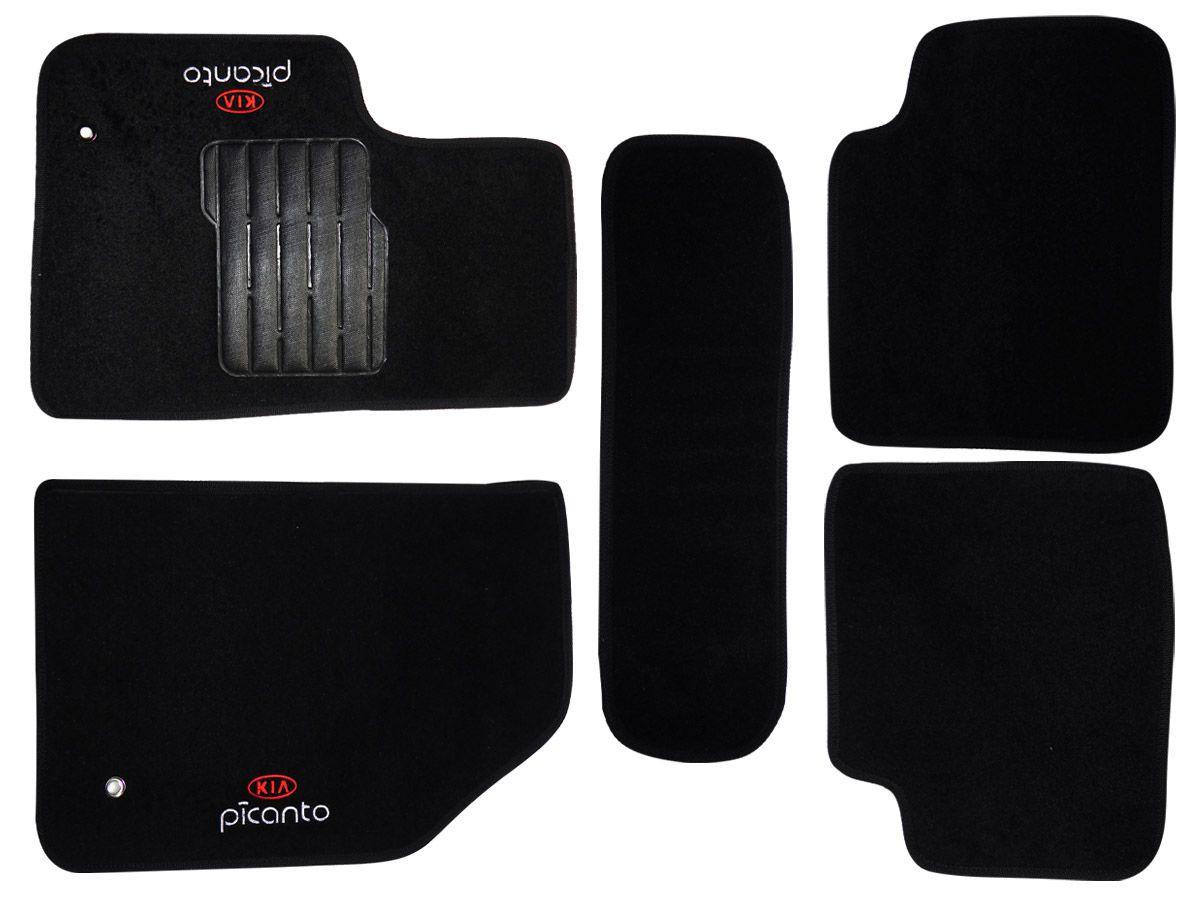 Jogo tapete carpete Picanto 2012 2013 2014 2015 2016 2017 com bordado (5 peças) e base pinada