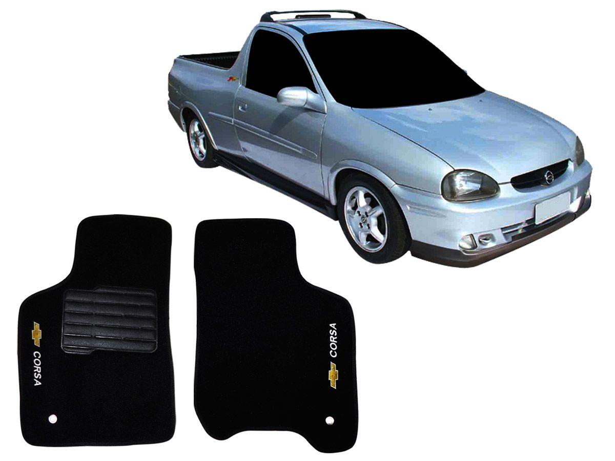 Tapete Carpete GM Pick-up Corsa 1994 1995 1996 1997 1998 1999 2000 2001 2002 Personalizado com bordado nos dois tapetes dianteiros (2 peças)