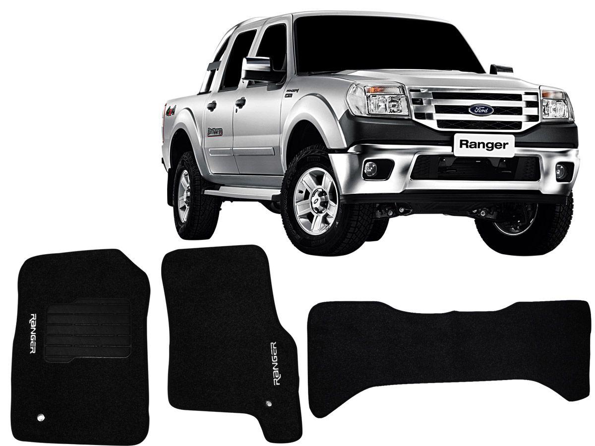 Tapete Carpete Ranger Cabine Dupla 1996 até 2011 Personalizado (3 peças)