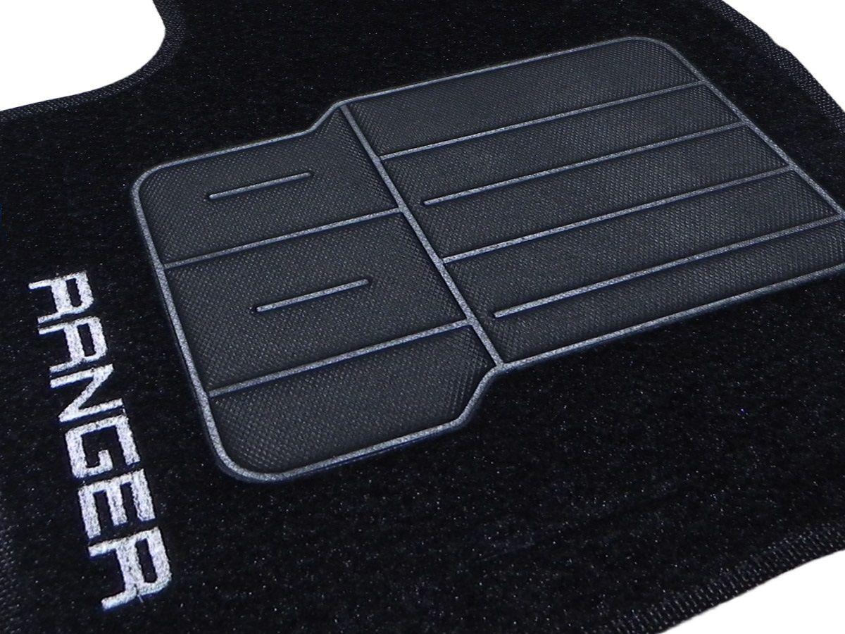 Jogo tapete carpete Ranger cabine dupla 2013 2014 2015 2016 com bordado (5 peças) e base pinada