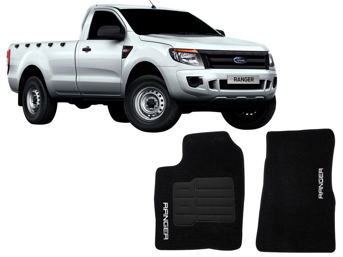 Tapete Carpete Ford Ranger Cabine Simples 2012 2013 2014 2015 Personalizado com bordado nos dois tapetes dianteiros (2 peças)