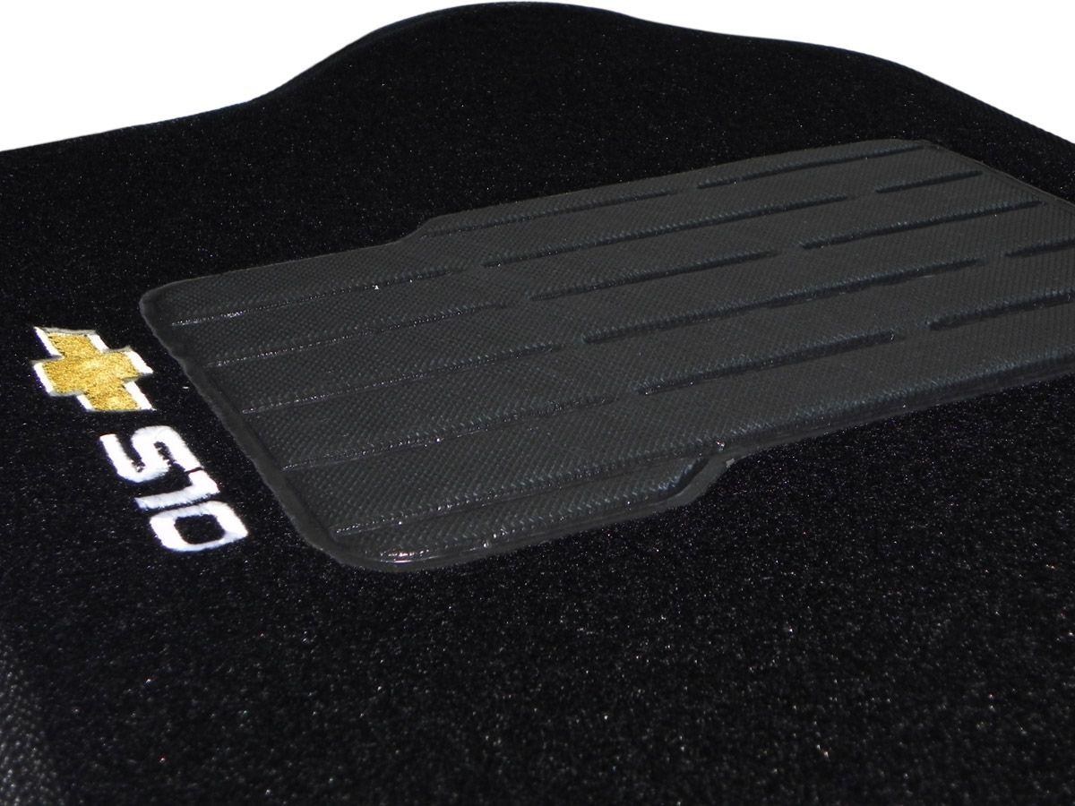 Jogo tapete carpete S10 cabine dupla 1995 até 2011 com bordado (3 peças)