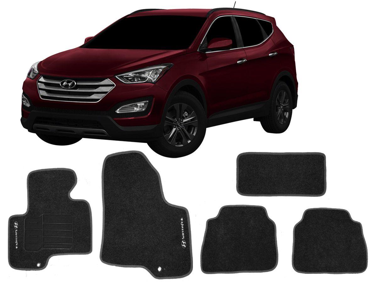 Tapete Carpete Hyundai Santa Fé 2014 em diante Personalizado com bordado nos dois tapetes dianteiro (5 peças)