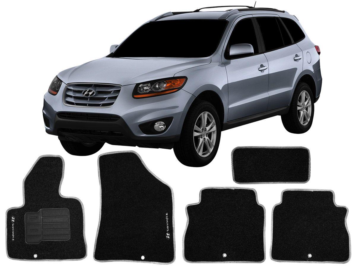 Tapete Carpete Hyundai Santa Fe até 2010 Personalizado com bordado nos dois tapetes dianteiros (5 peças)