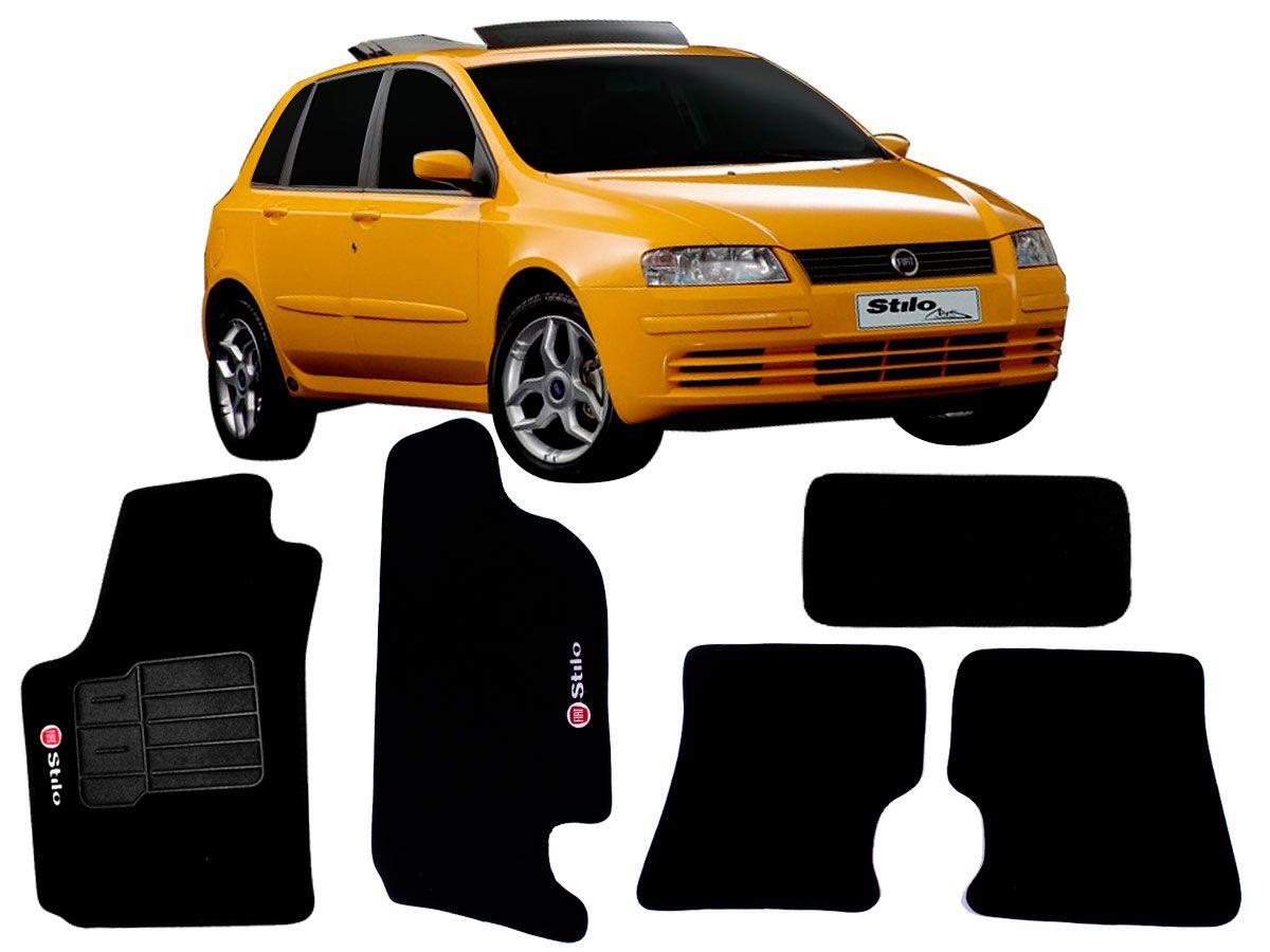 Tapete Carpete Fiat Stilo Personalizado com bordado nos dois tapetes dianteiros (5 peças)